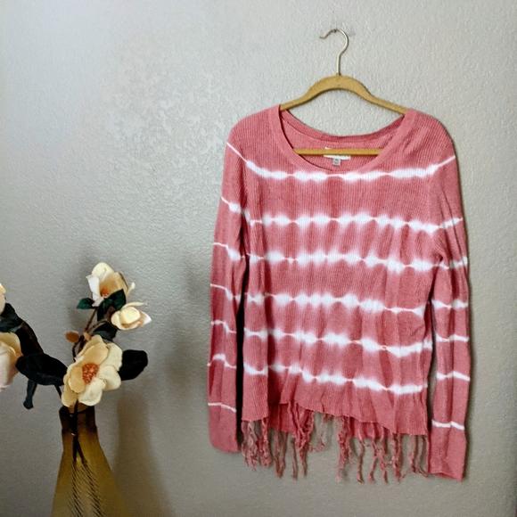 Knox Rose Pink Tie Dye Fringe Sweater Sz XL